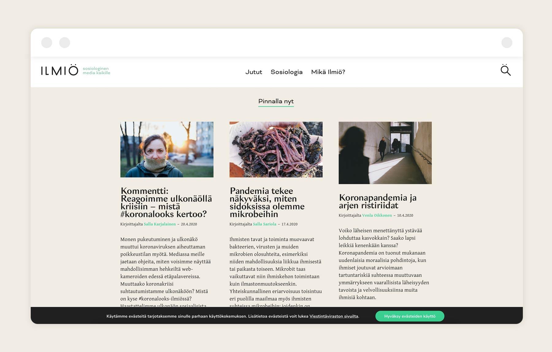 Ilmiö identity and website, design by Kilda