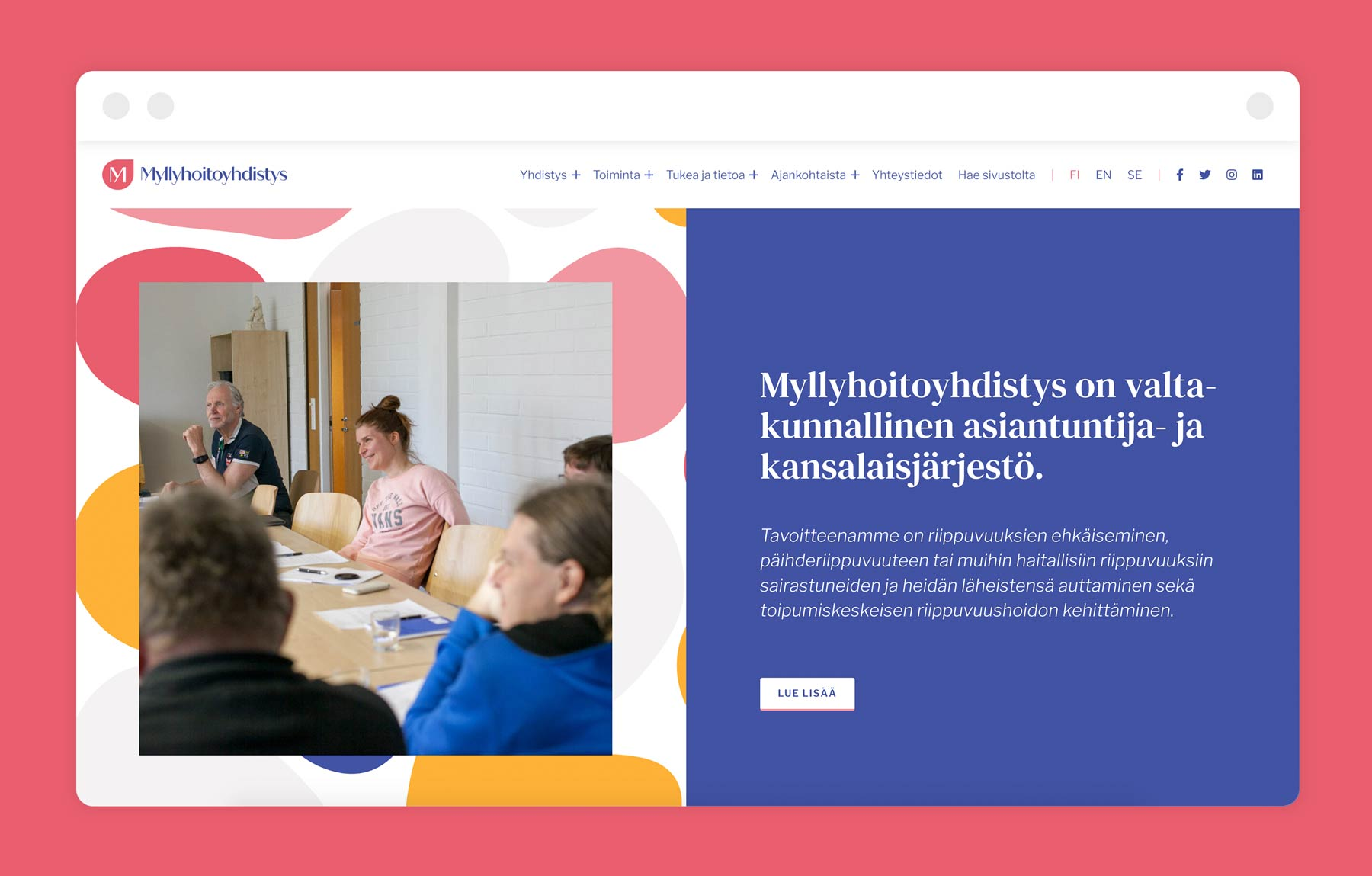 Myllyhoitoyhdistys identity and website, design by Kilda
