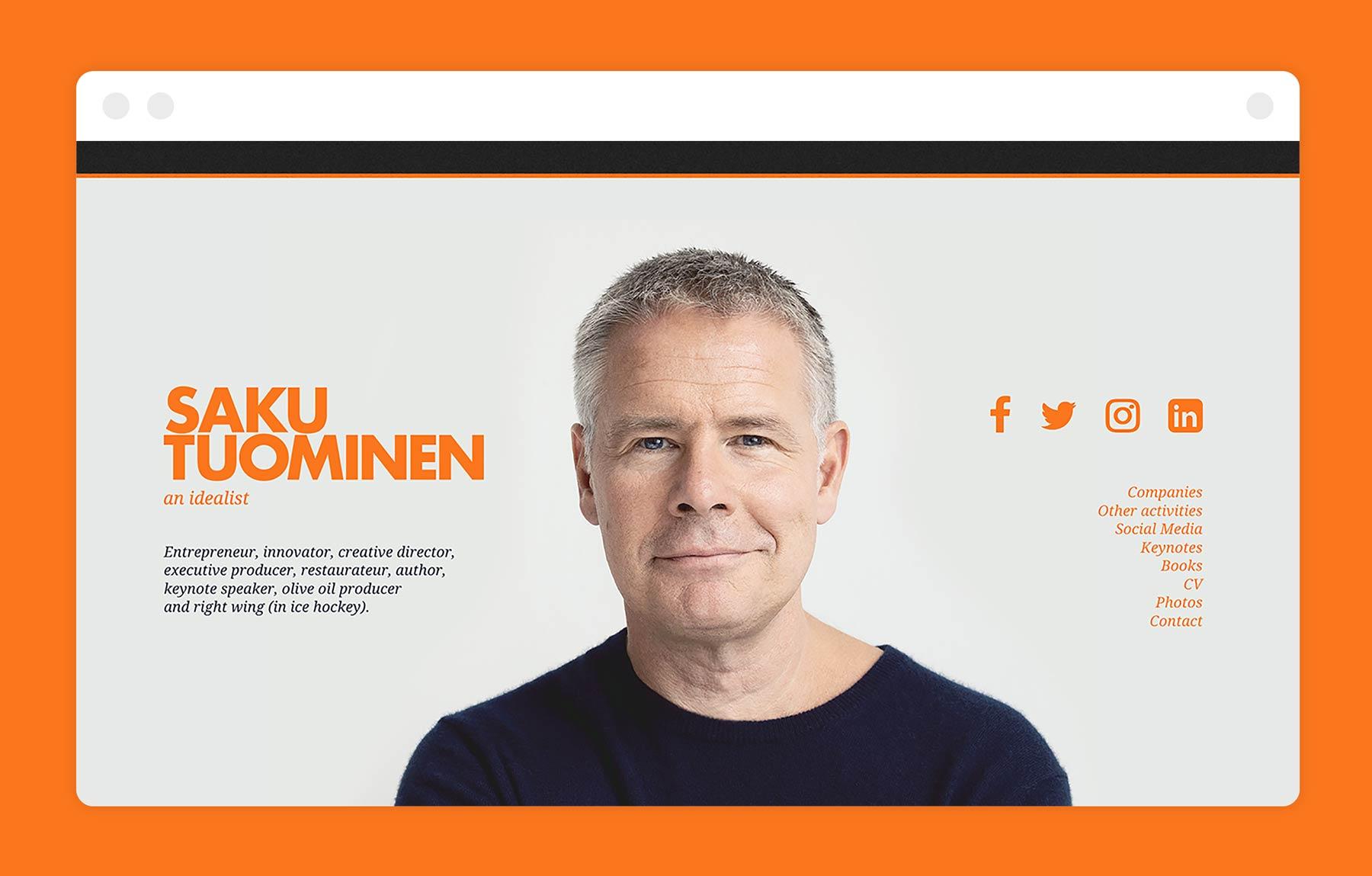 Saku Tuominen website, design by Kilda