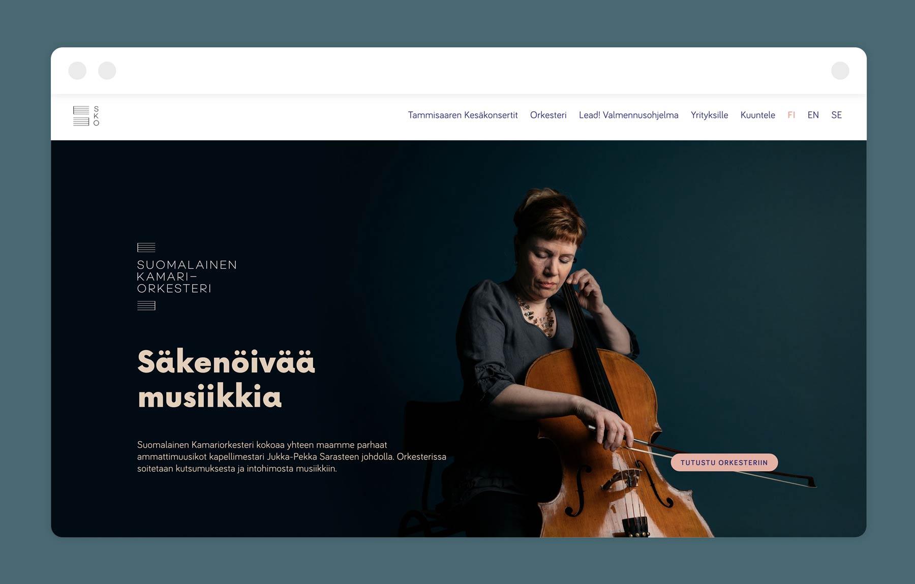Suomalainen Kamariorkesteri identity and website, design by Kilda