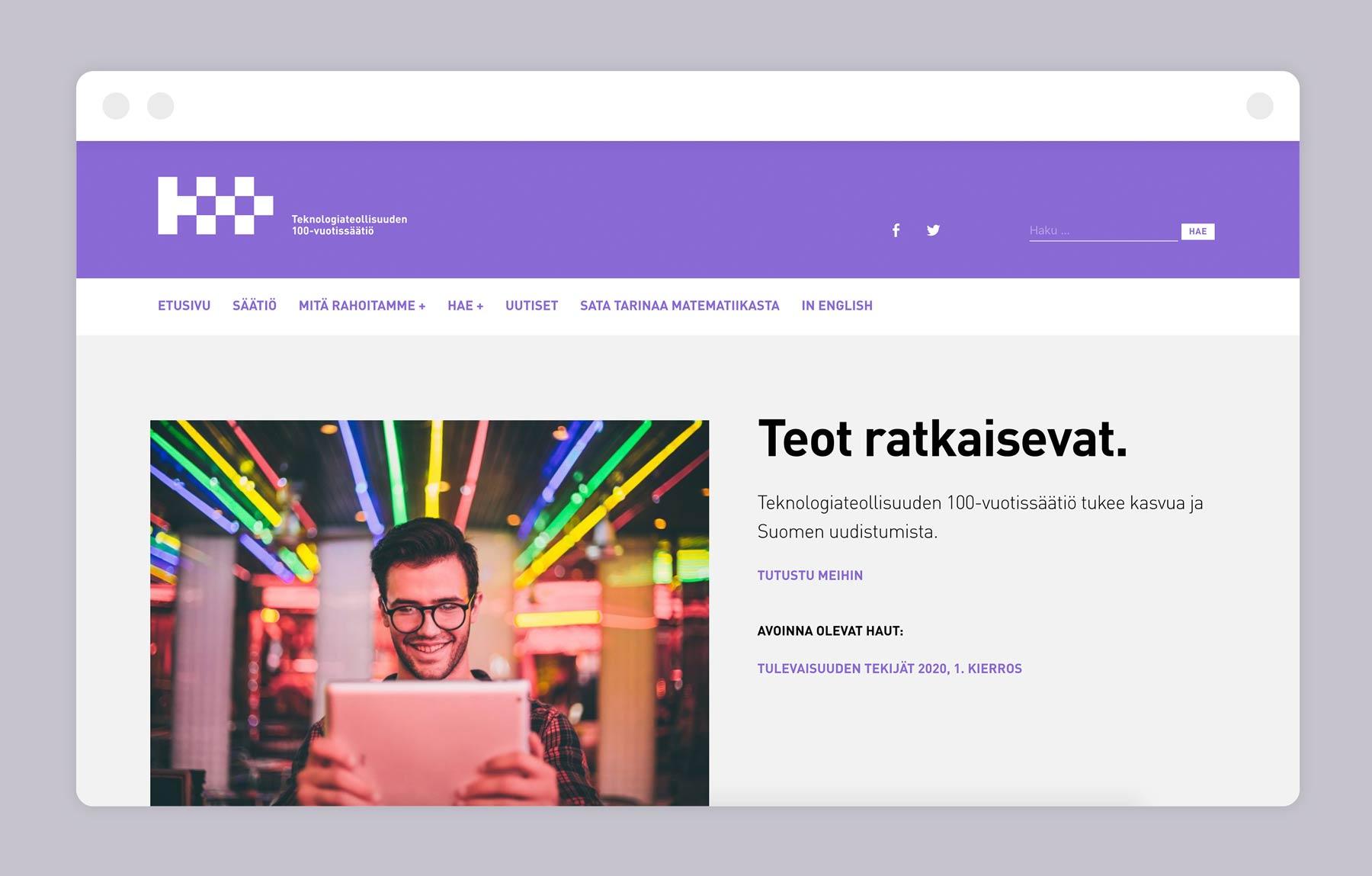 Teknologiateollisuuden 100-vuotissäätiö website, design by Kilda